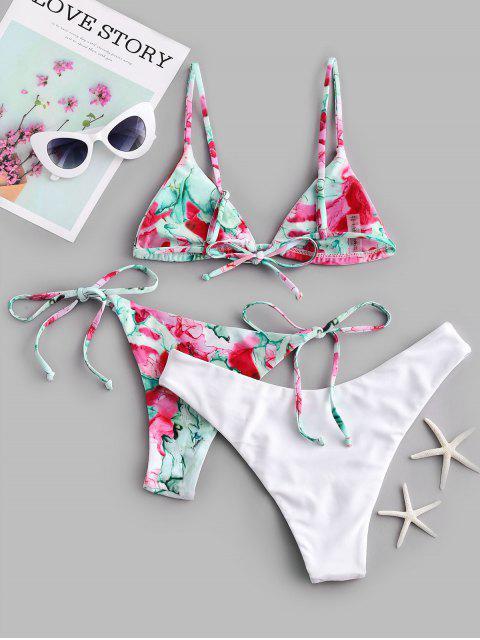 ZAFUL Maillot de Bain Bikini Teinté à Jambe Haute Trois Pièces - Multi-A L Mobile