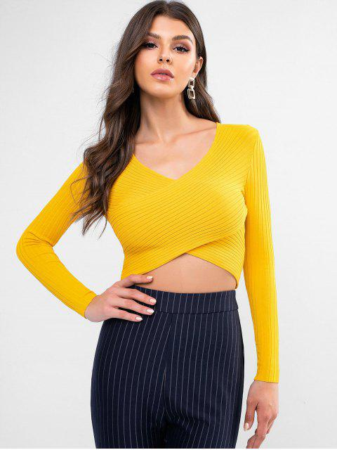 buy Ribbed Overlap Crop Sweater - BRIGHT YELLOW S Mobile
