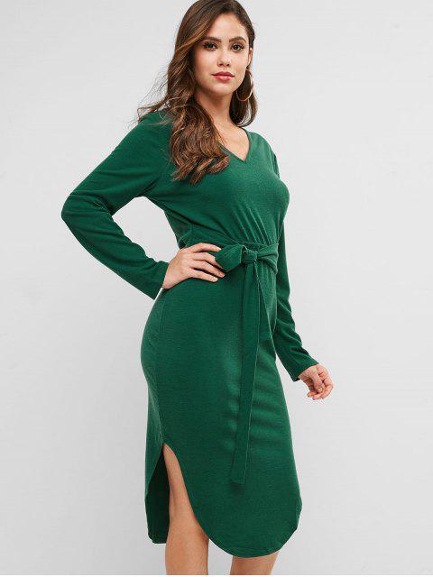 shops Knitted Belted V Neck Curved Hem Dress - DEEP GREEN S Mobile