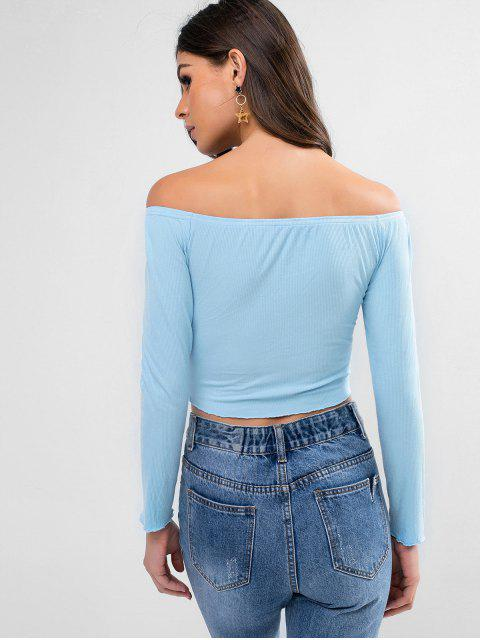 outfit ZAFUL Off Shoulder Butterfly Embroidery Crop T Shirt - DAY SKY BLUE L Mobile