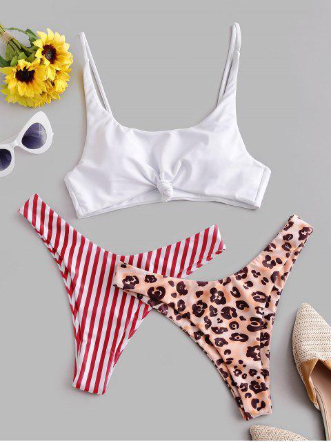 ZAFUL Costume da bagno bikini a righe con stampa leopardata - Multi Colori-A M Mobile