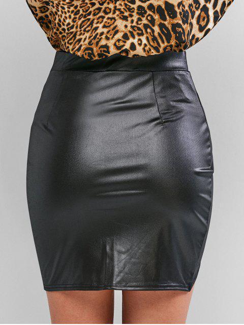 Jupe Asymétrique Moulante en Faux Cuir - Noir S Mobile