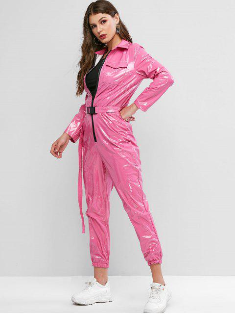 hot Pockets Zip Up Belted Patent Leather Jumpsuit - ROSE M Mobile