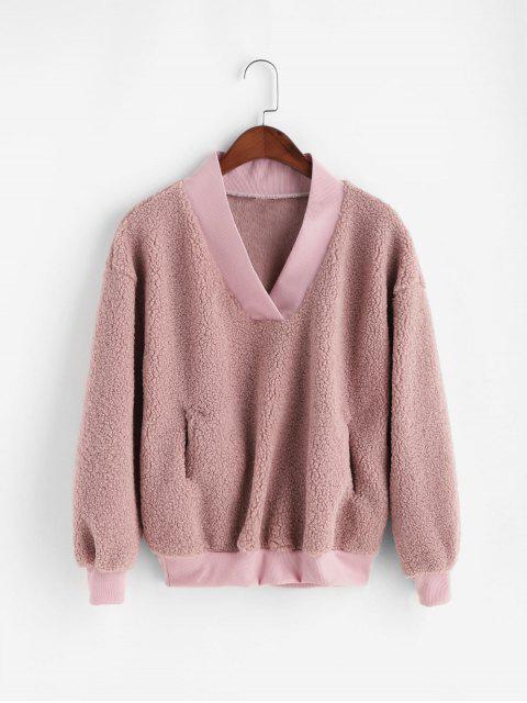 Sweat-Shirt Fourré à Goutte Epaule avec Poche - Rose  L Mobile