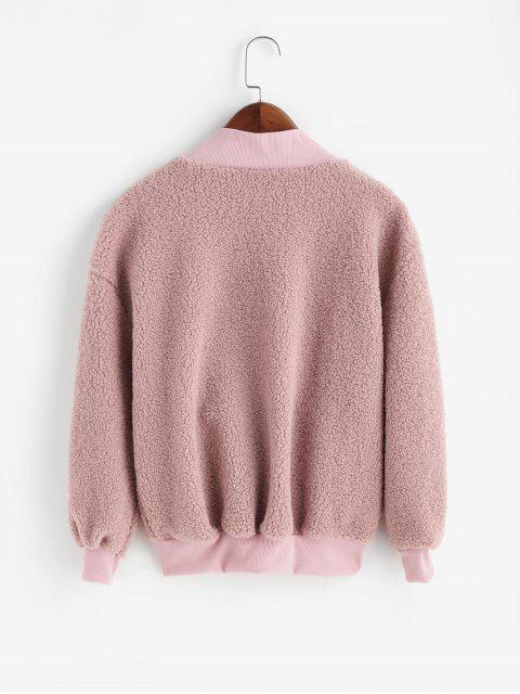 Sweat-Shirt Fourré à Goutte Epaule avec Poche - Rose  XL Mobile
