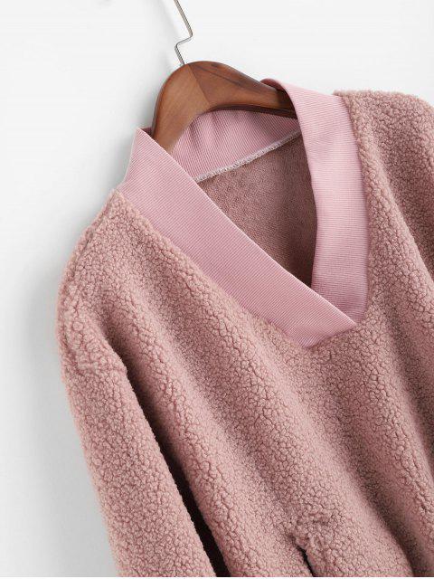 latest Pocket V Neck Drop Shoulder Fluffy Teddy Sweatshirt - PINK M Mobile