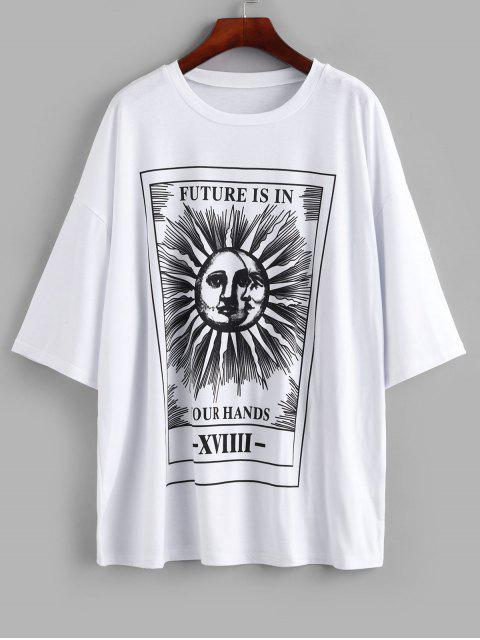 new Sun and Moon Letter Print Loose Tee - WHITE S Mobile