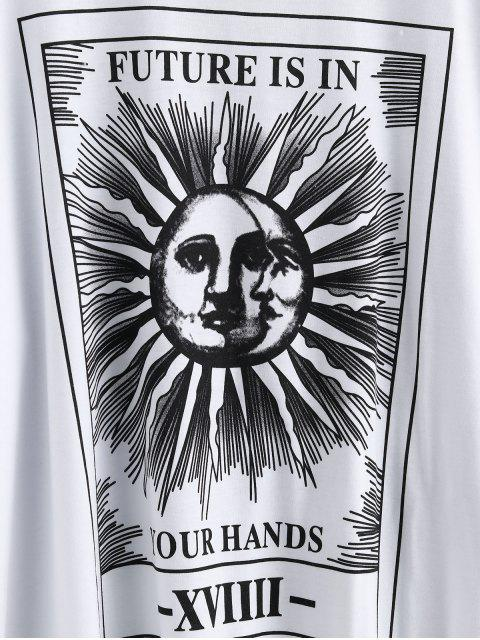 chic Sun and Moon Letter Print Loose Tee - WHITE L Mobile