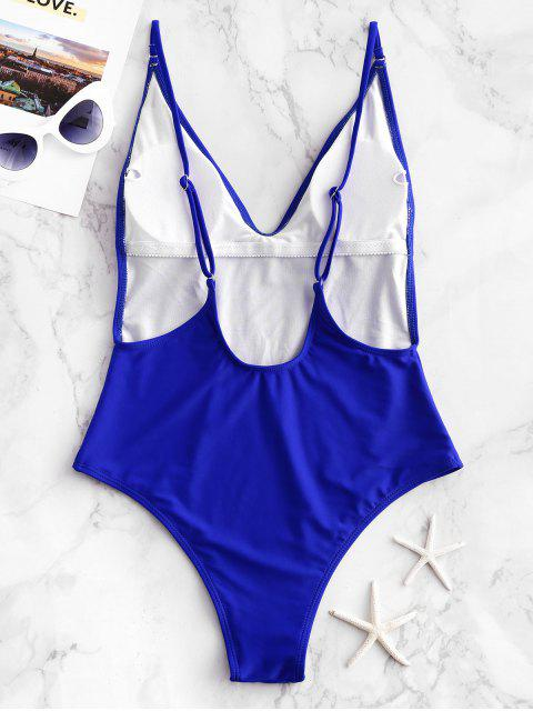 women's ZAFUL Plunge Front Padded Backless One-piece Swimsuit - BLUE S Mobile