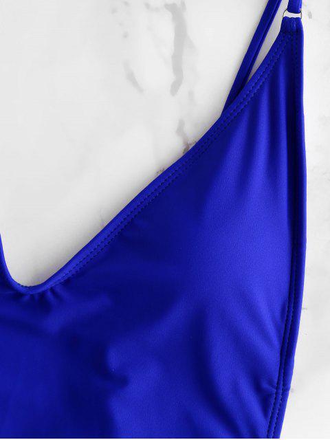 ZAFUL Глубокий воротник С чашками Открытая спина Слитный Купальник - Синий L Mobile