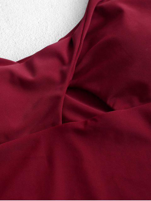 ZAFUL扭曲單肩剪下一條連體泳衣 - 紅酒 S Mobile