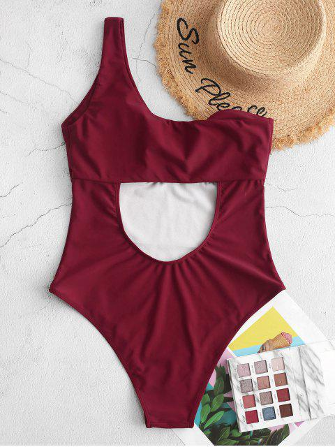 fancy ZAFUL Twisted One Shoulder Cut Out One-piece Swimsuit - RED WINE L Mobile