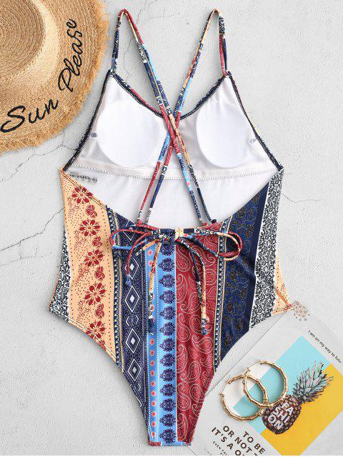 women's ZAFUL Bohemian Flower Paisley Backless One-piece Swimsuit - MULTI-A XL Mobile