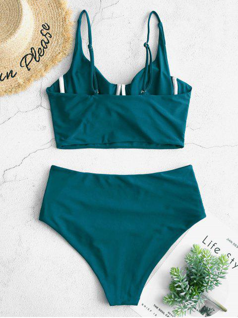 latest ZAFUL Ruched Underwire Tankini Swimsuit - PEACOCK BLUE M Mobile