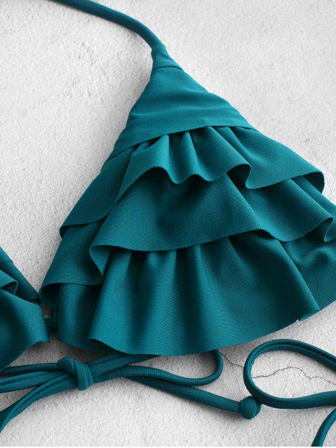 online ZAFUL Ruffle Halter String Bikini Swimsuit - GREENISH BLUE S Mobile