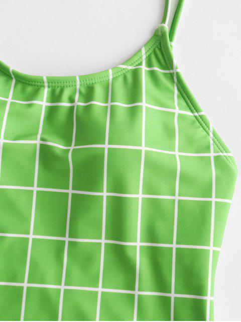 ZAFUL格紋領帶露背高切連體泳衣 - 黃綠色 XL Mobile