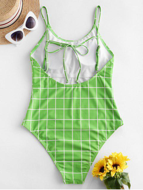 outfit ZAFUL Plaid Backless Tie High Cut One-piece Swimsuit - YELLOW GREEN M Mobile