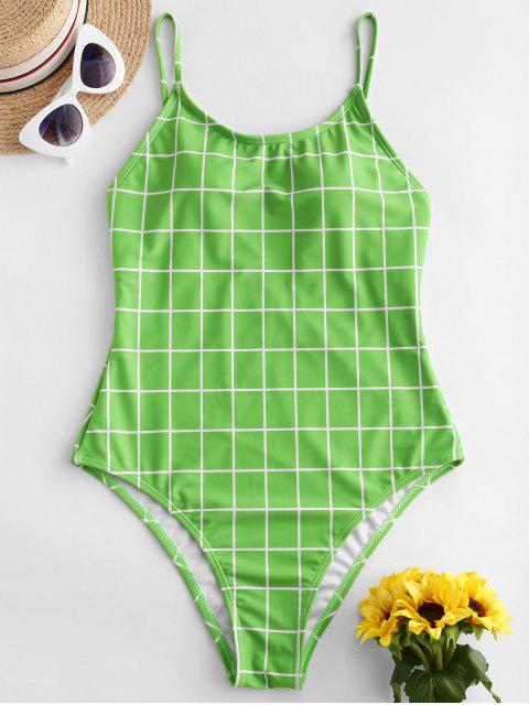 ZAFUL Клетчатый принт Открытая спина Высокий вырез Слитный Купальник - Желто-зеленый L Mobile