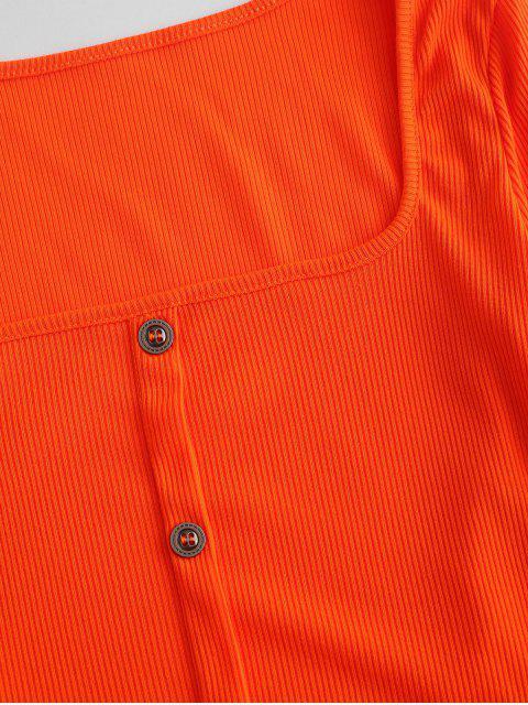 Ensemble de Deux Pièces Fourreau Court avec Bouton - Orange Foncé S Mobile