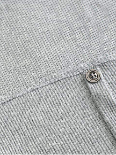 Mock Button Crop Mantel Zweiteiler - Hellgrau M Mobile
