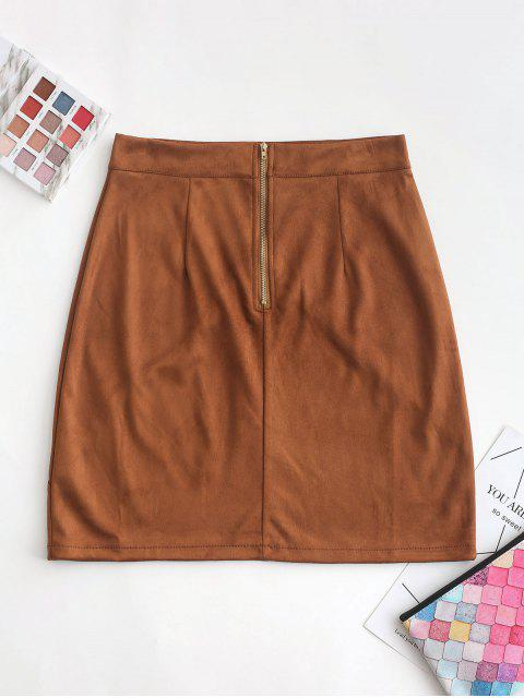 shops Back Zipper Faux Suede A Line Skirt - BROWN S Mobile