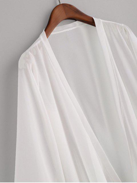 分層荷葉邊薄紗領帶雪紡障眼法 - 白色 One Size Mobile