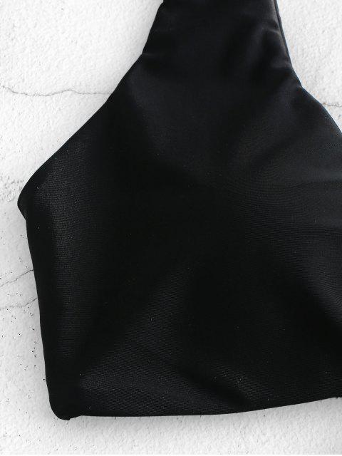 online ZAFUL Tied Plunging Padded Bikini Top - BLACK S Mobile