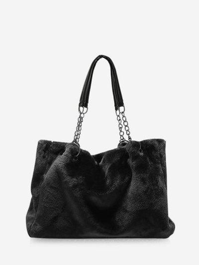 Plush Solid Chain Rectangle Handbag - Black