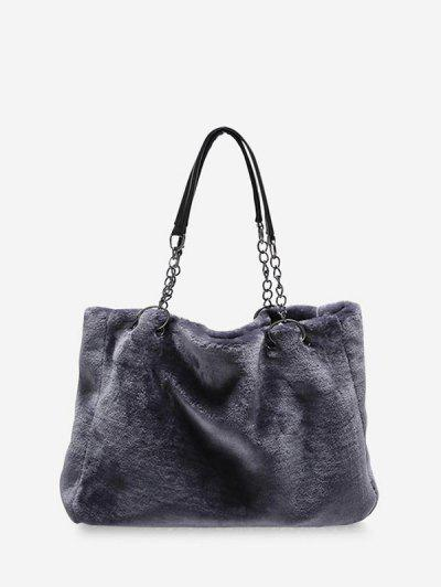 Plush Solid Chain Rectangle Handbag - Battleship Gray
