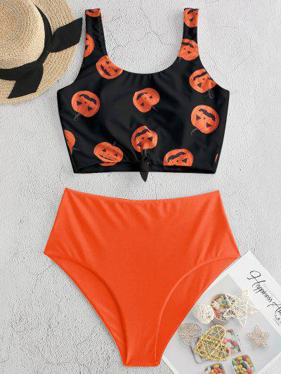 ZAFUL Halloween Pumpkin Print Knot Tankini Swimsuit - Papaya Orange Xl