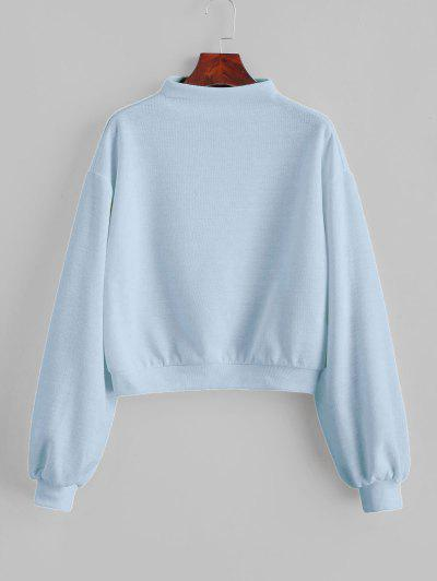 ZAFUL Pullover Mock Neck Plain Sweatshirt - Light Blue S
