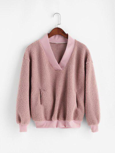 Pocket V Neck Drop Shoulder Fluffy Teddy Sweatshirt - Pink 2xl