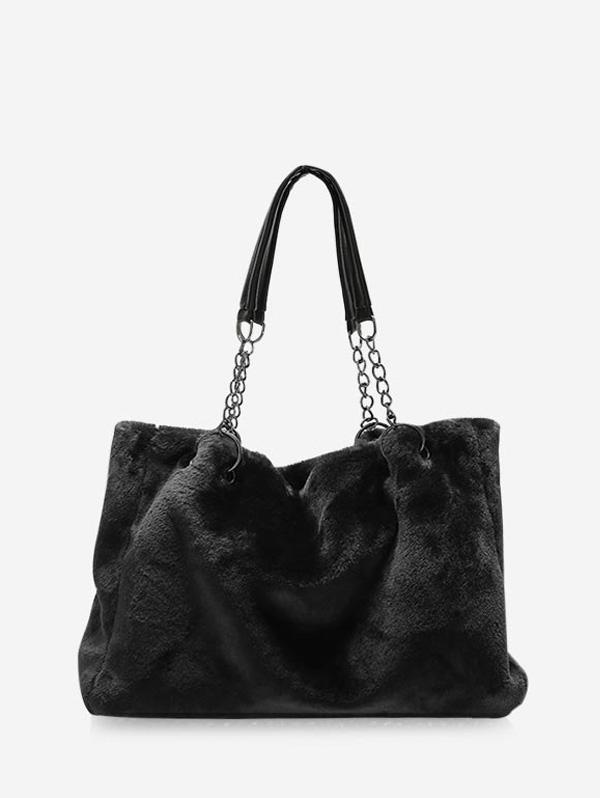 Plush Solid Chain Rectangle Handbag