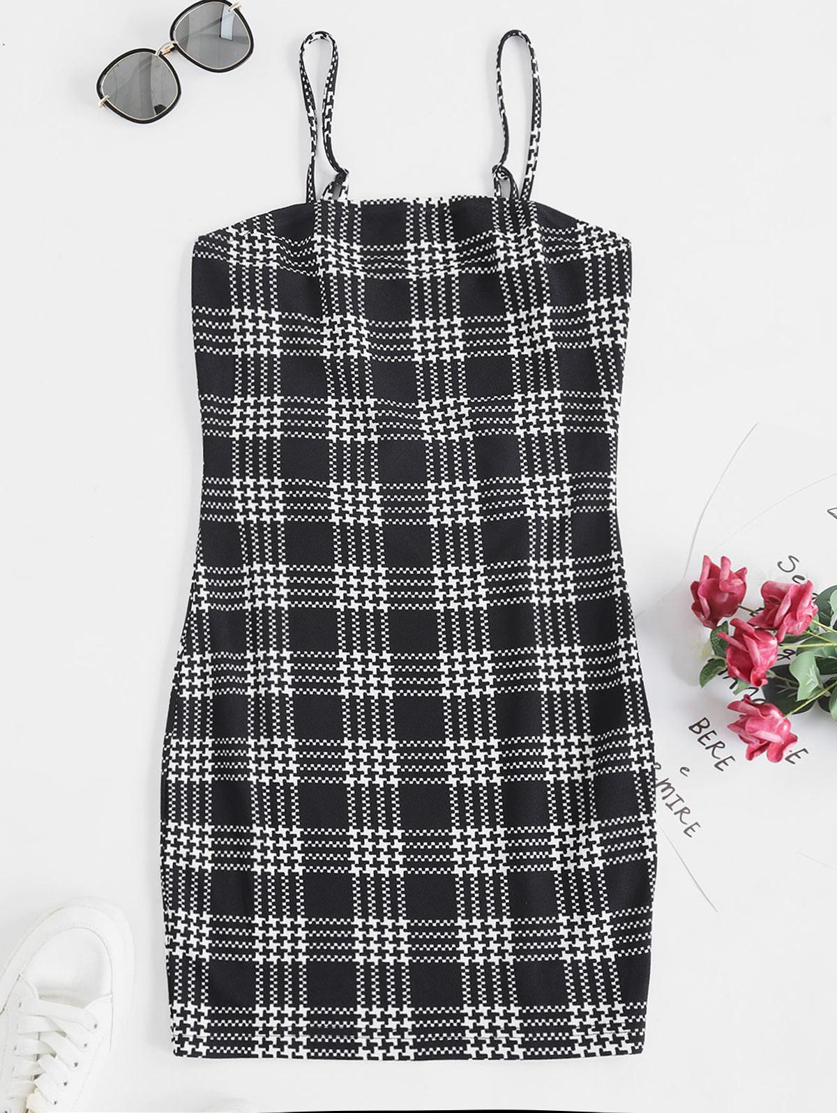 ZAFUL Houndstooth Print Mini Cami Dress