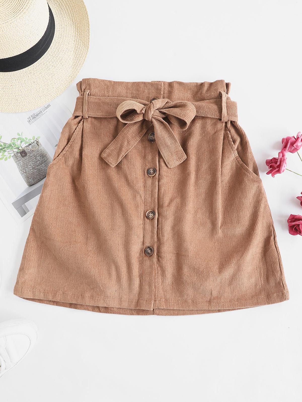 Button Fly Corduroy Belted Paperbag Skirt