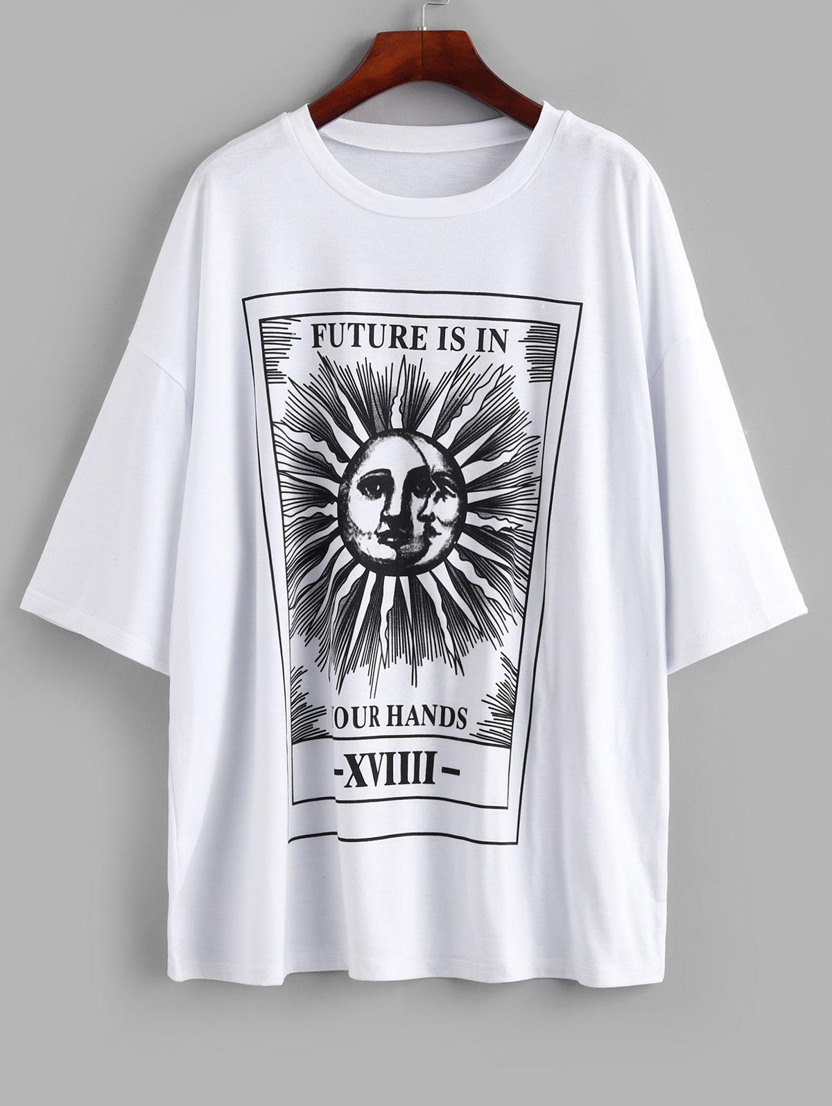 Sun and Moon Letter Print Loose Tee