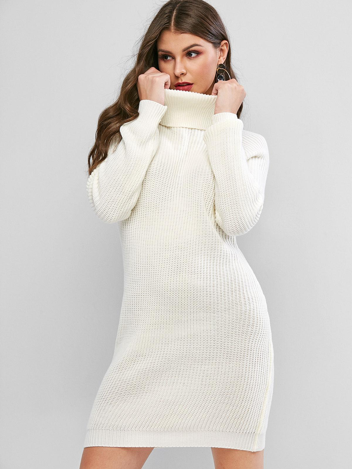 Turtleneck Raglan Sleeve Mini Sweater Dress
