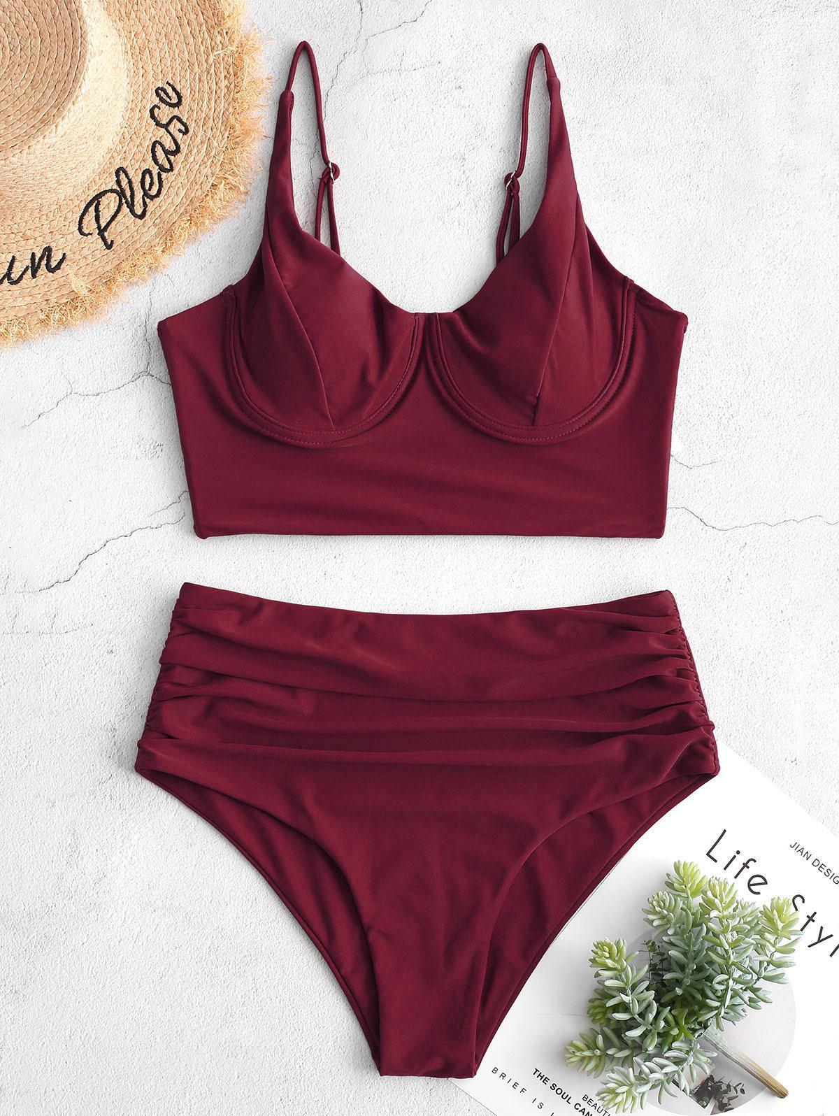 zaful Underwire High Waisted Tankini Swimsuit