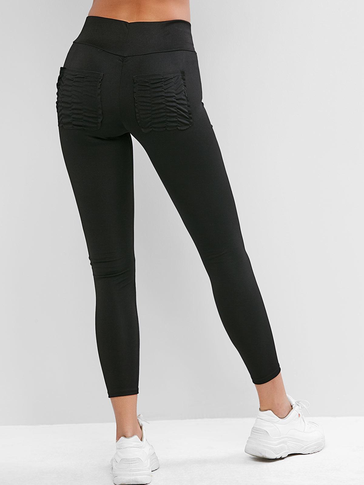 High Waisted Ruched Back Pockets Leggings, Black