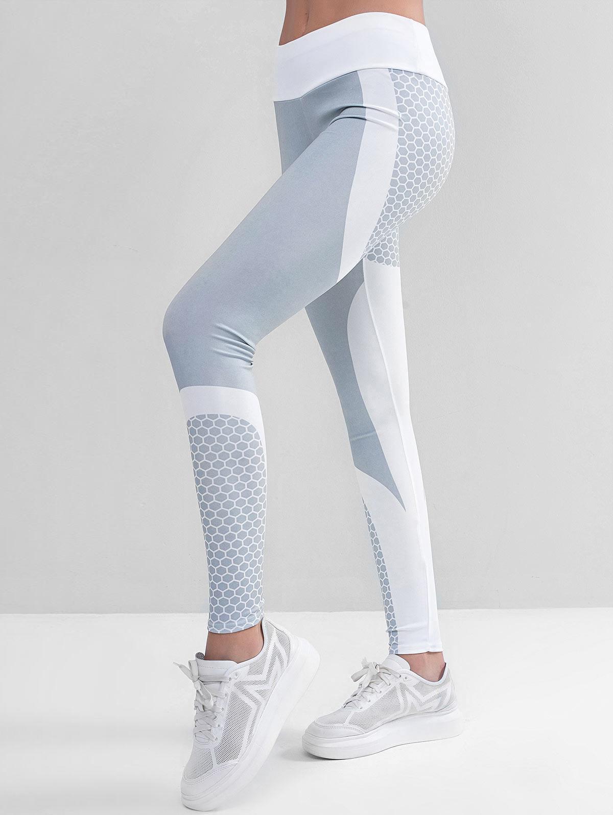Two Tone Honeycomb Workout Gym Leggings, White