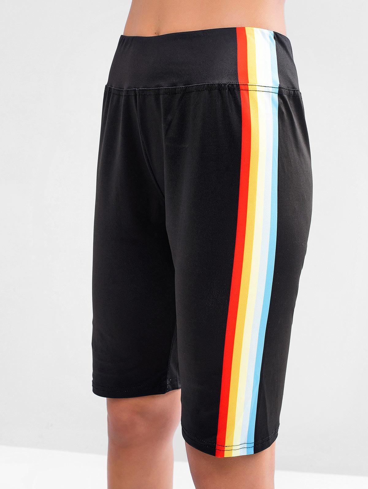 Rainbow Side High Waisted Biker Shorts