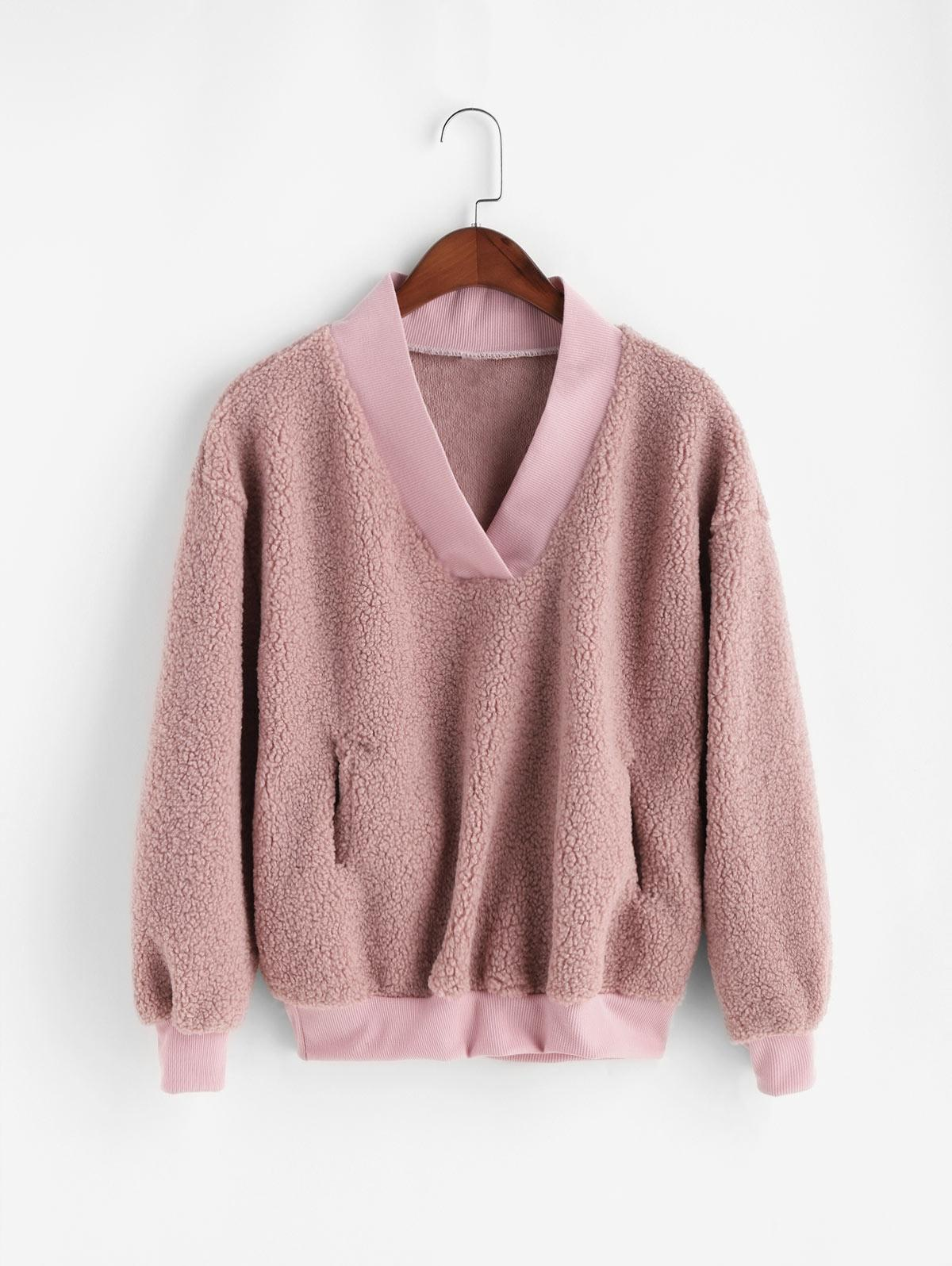 Pocket V Neck Drop Shoulder Fluffy Teddy Sweatshirt