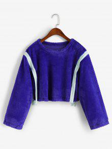 Zippered Tape Fluffy Faux Fur Sweatshirt