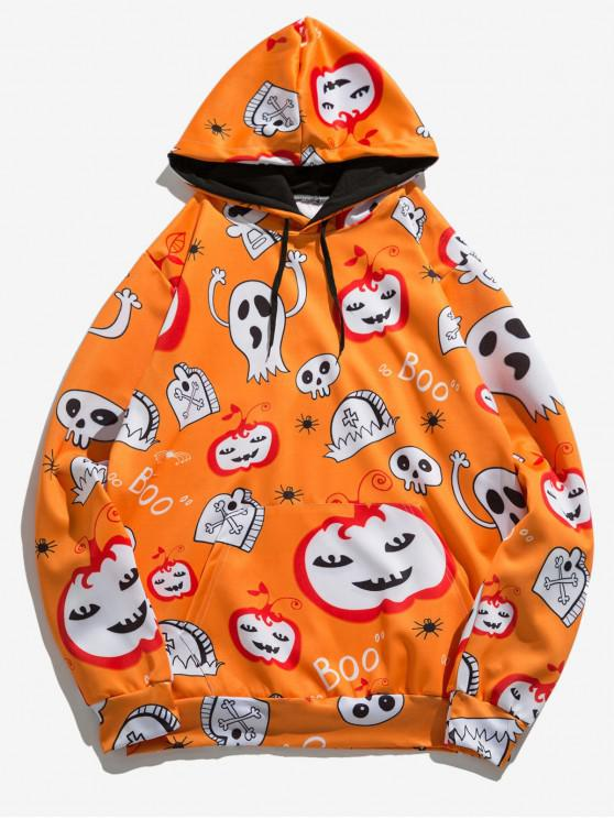new Halloween Pumpkin Ghost Spider Print Pullover Hoodie - MULTI S
