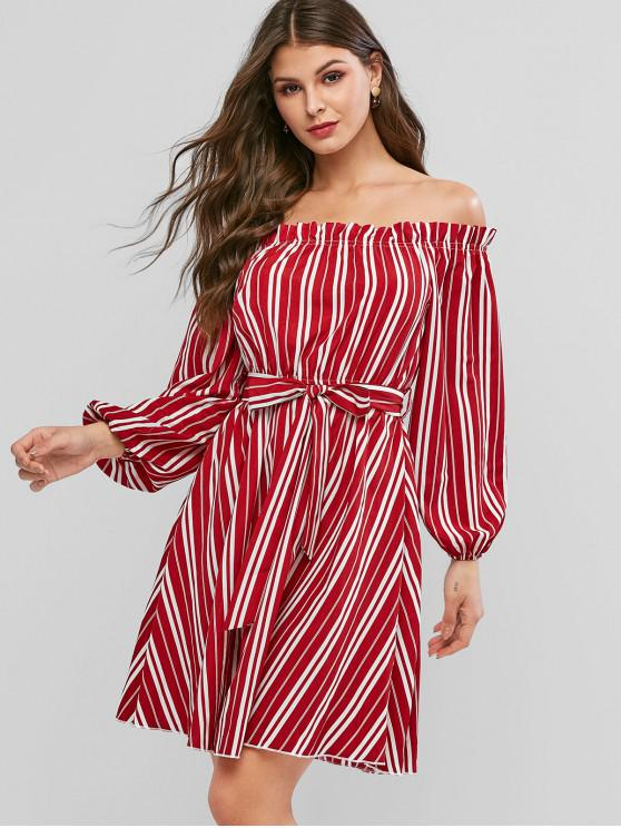 buy ZAFUL Striped Off Shoulder Belted Long Sleeve Dress - RUBY RED XL
