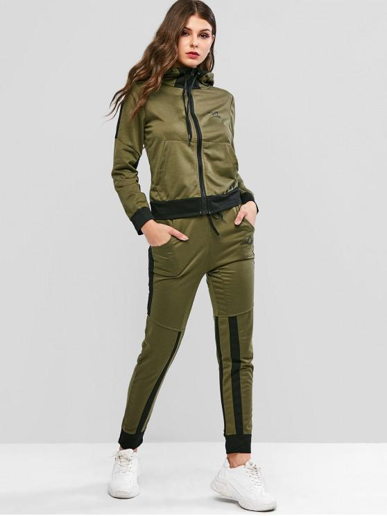 women Letter Print Contrast Drawstring Hooded Tracksuit - ARMY GREEN M