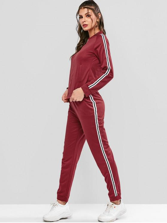 new Side Striped Patched Zip Up Tracksuit - RED XL