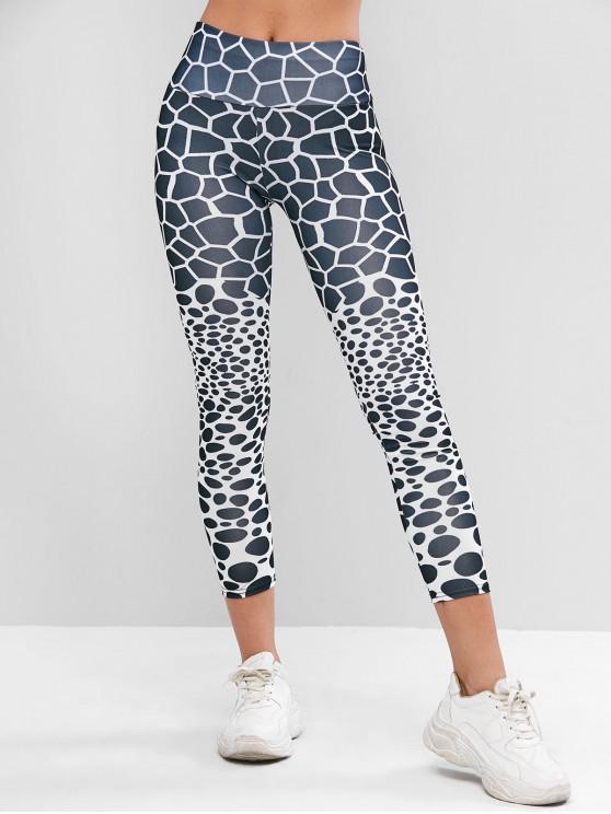 womens Geometric High Waisted Gym Leggings - MULTI S