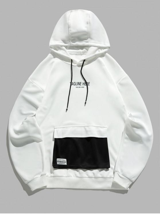 unique Letter Graphic Print Colorblock Flap Pocket Hoodie - WHITE XS