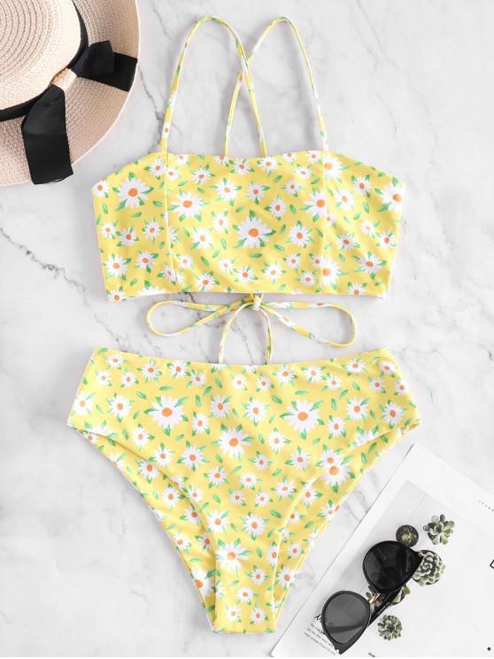unique ZAFUL Flower Lace Up High Waisted Bikini Swimsuit - MULTI-A L